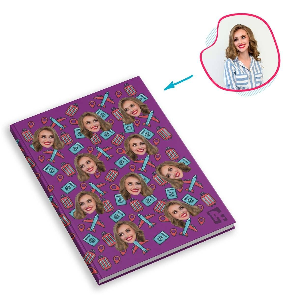 purple Traveler Notebook personalized with photo of face printed on them