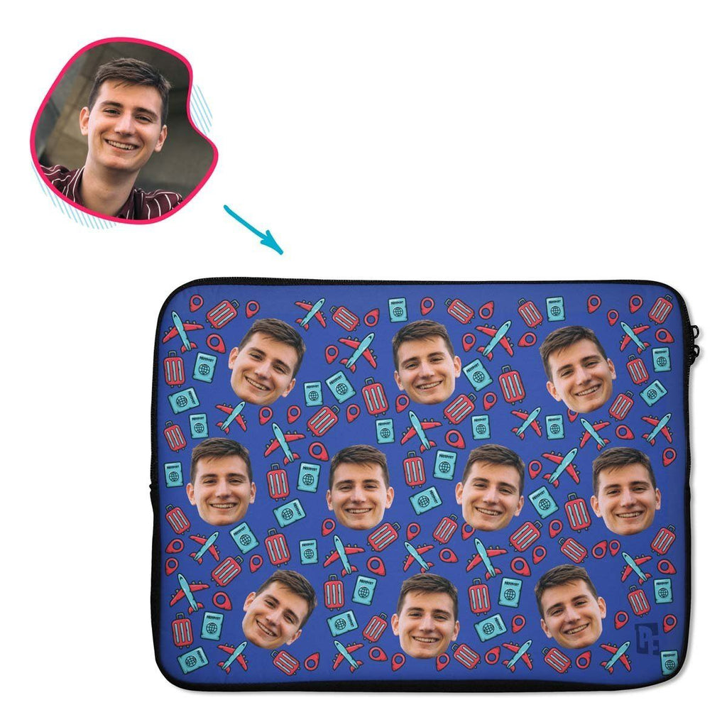darkblue Traveler laptop sleeve personalized with photo of face printed on them