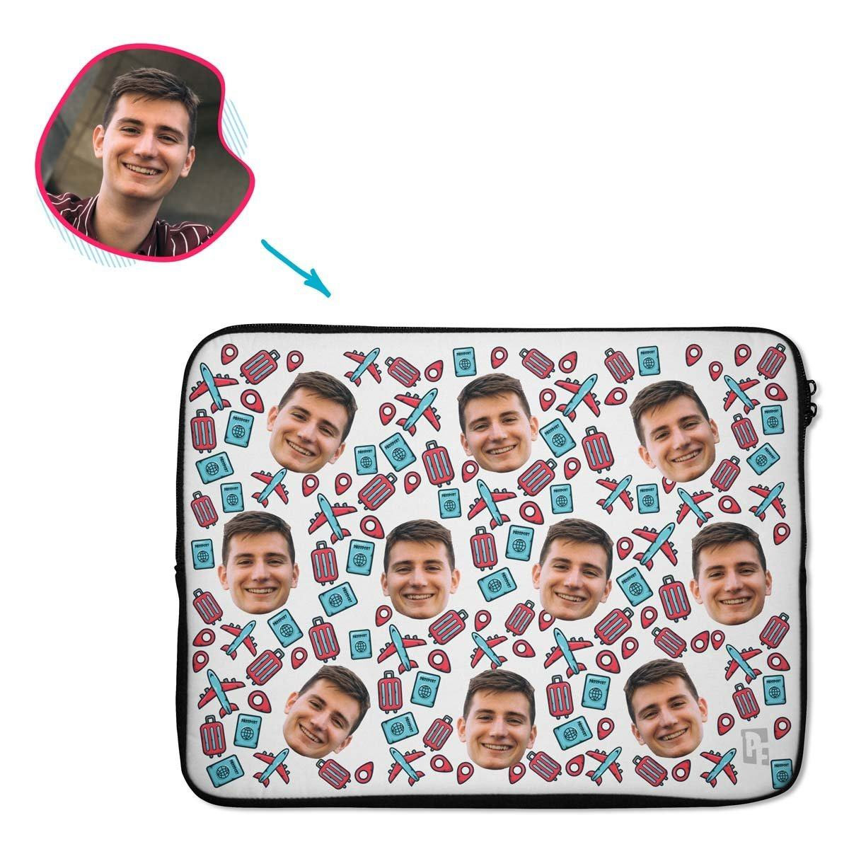 white Traveler laptop sleeve personalized with photo of face printed on them