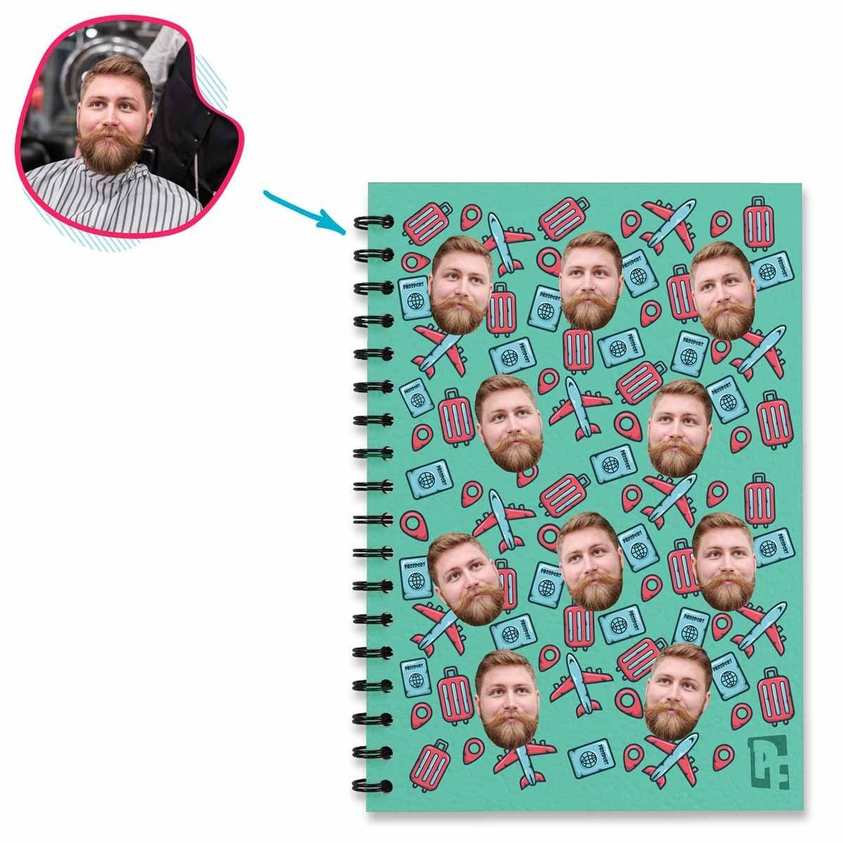 mint Traveler Notebook personalized with photo of face printed on them