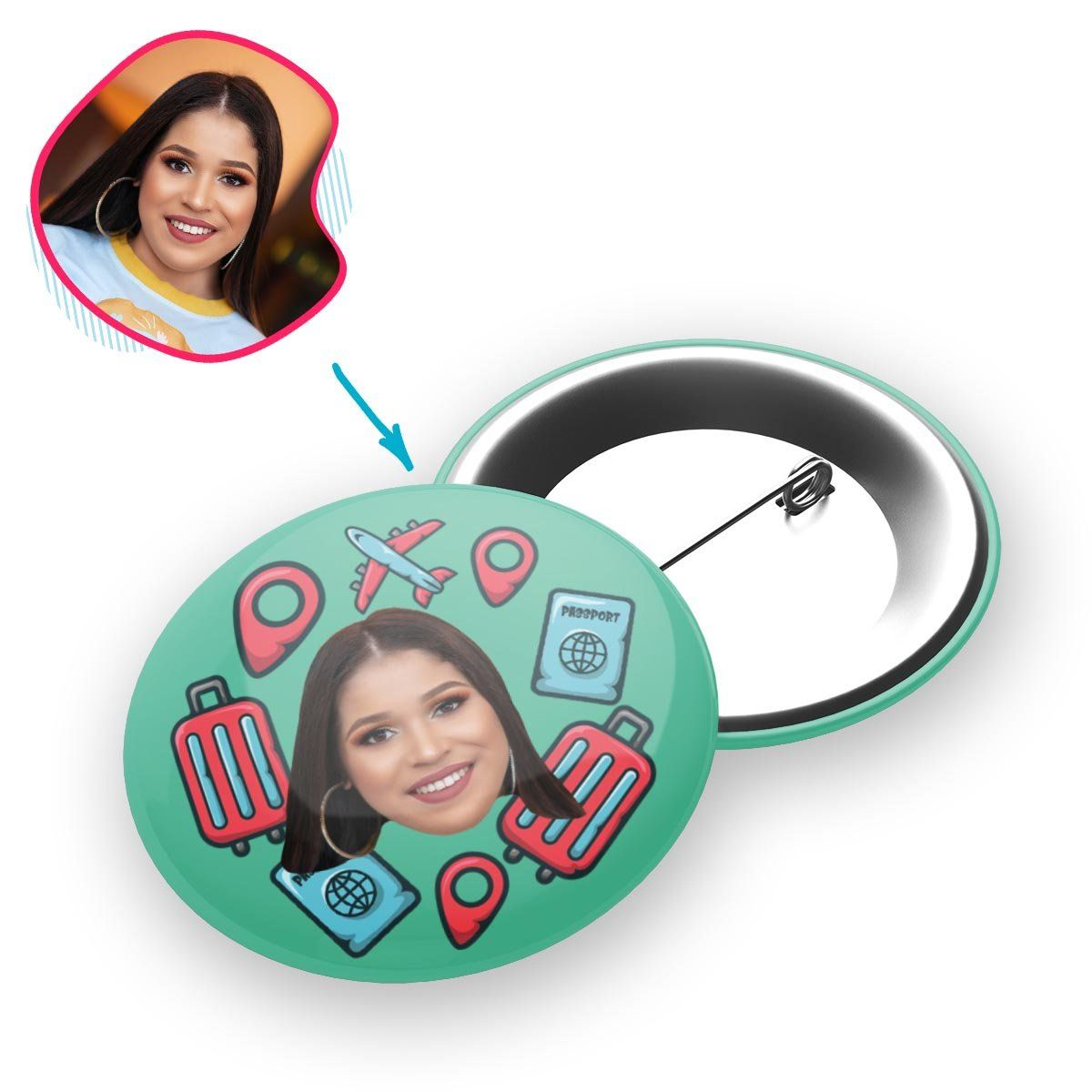 mint Traveler pin personalized with photo of face printed on it