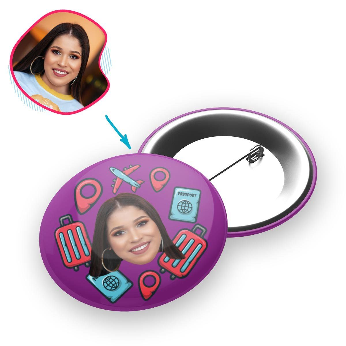 purple Traveler pin personalized with photo of face printed on it