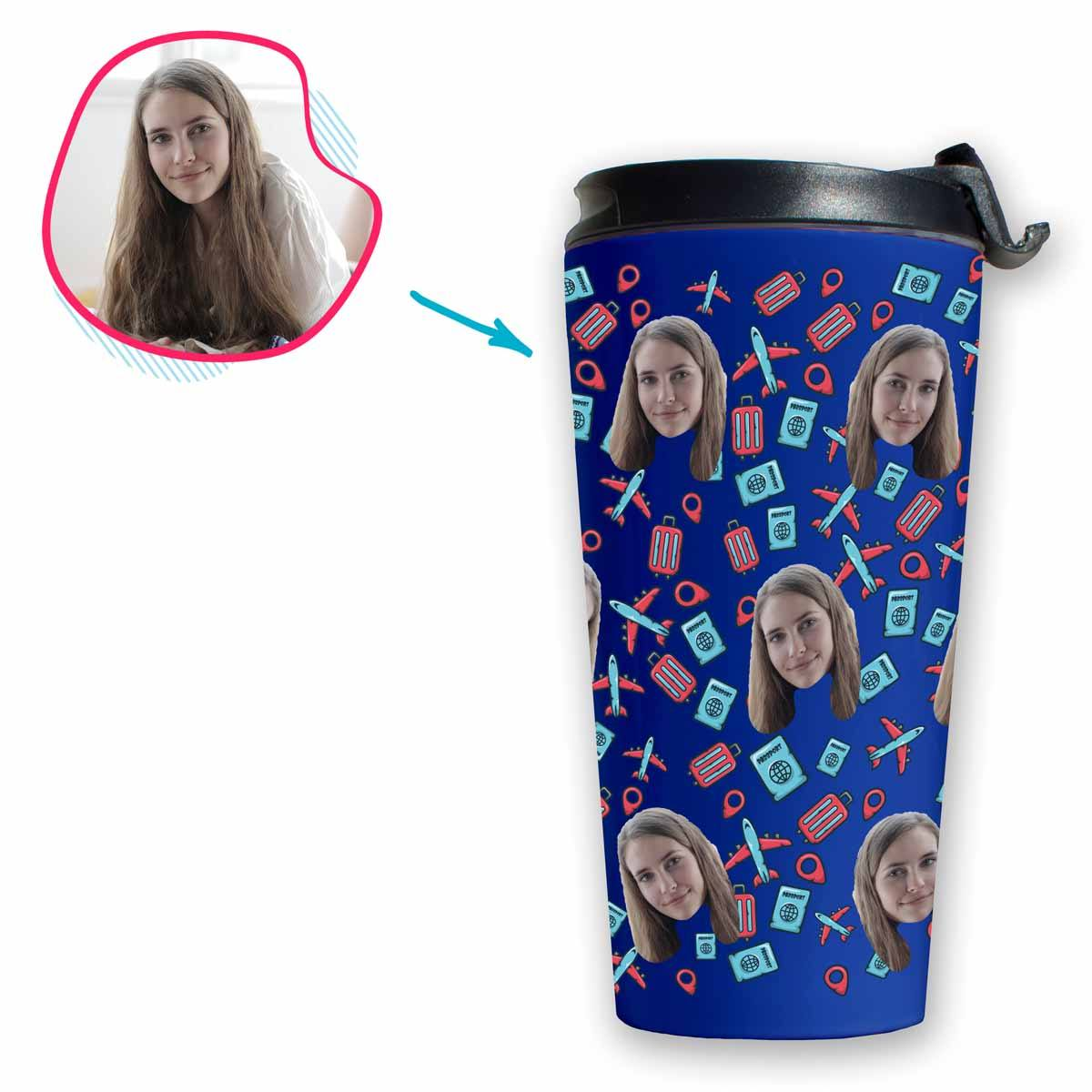 darkblue Traveler travel mug personalized with photo of face printed on it