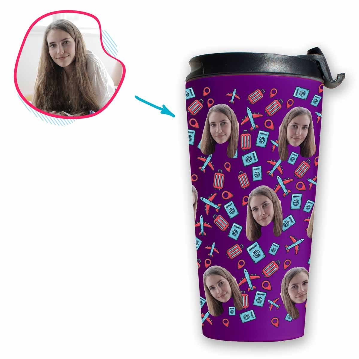 purple Traveler travel mug personalized with photo of face printed on it