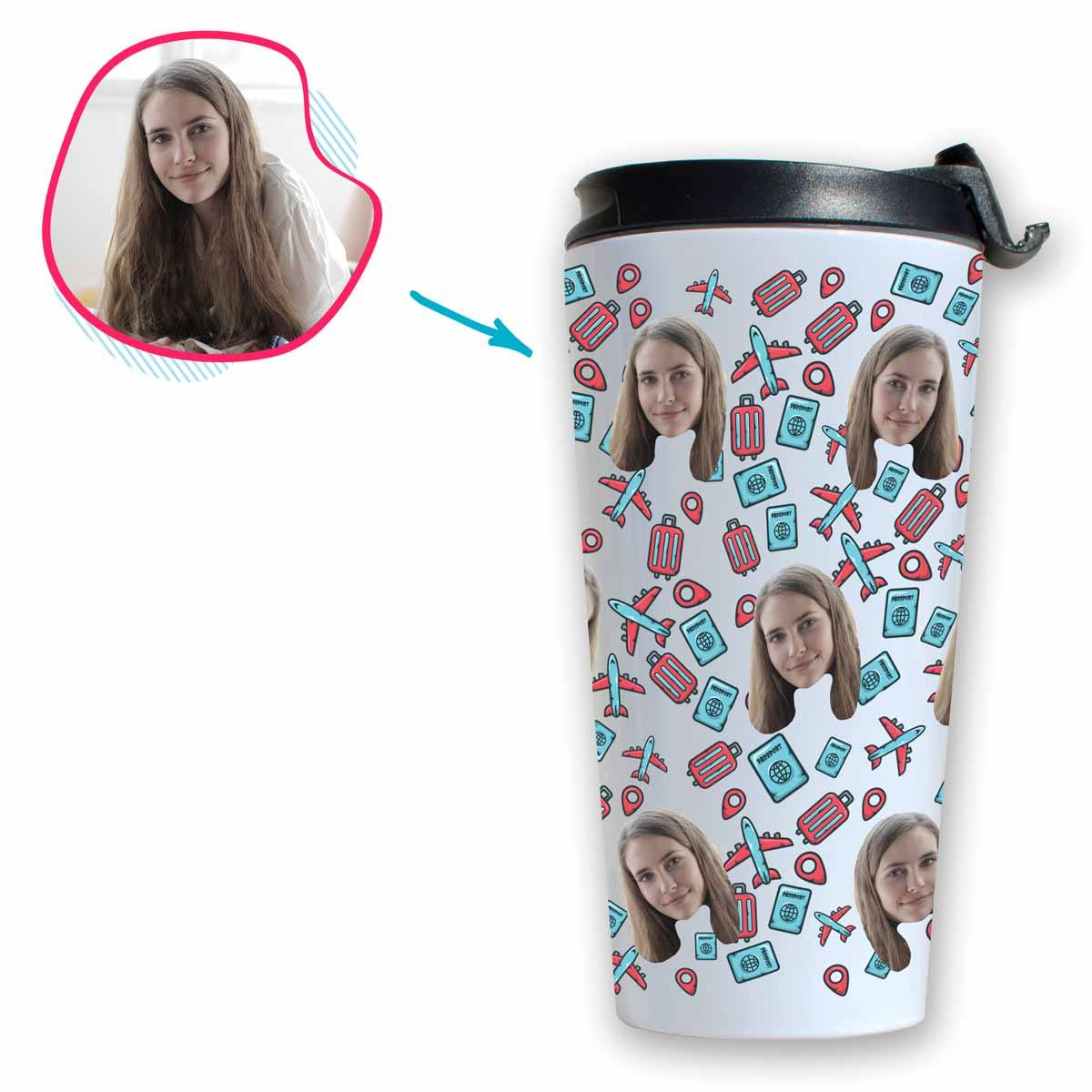 white Traveler travel mug personalized with photo of face printed on it