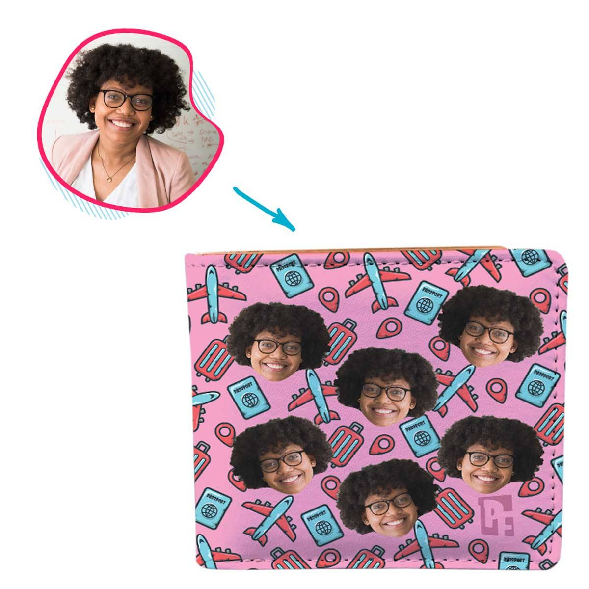 pink Traveler wallet personalized with photo of face printed on it