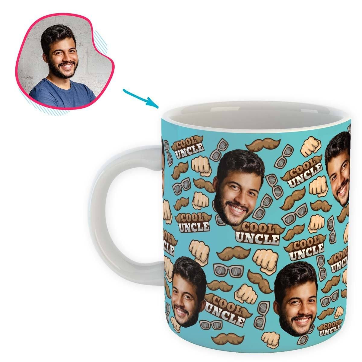 Blue Uncle personalized mug with photo of face printed on it
