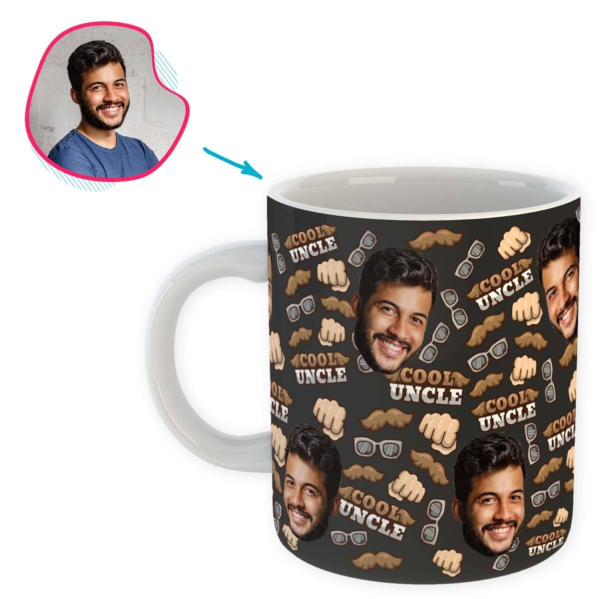 Dark Uncle personalized mug with photo of face printed on it