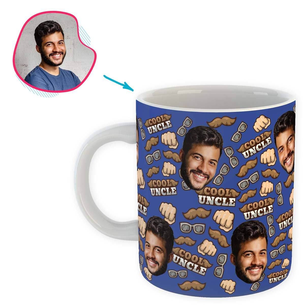 Darkblue Uncle personalized mug with photo of face printed on it