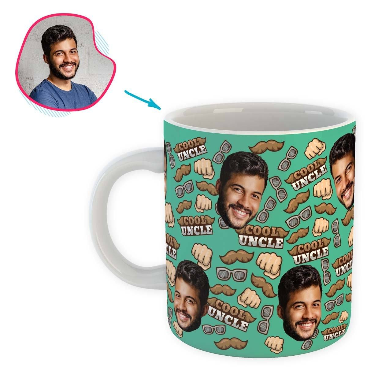 Mint Uncle personalized mug with photo of face printed on it