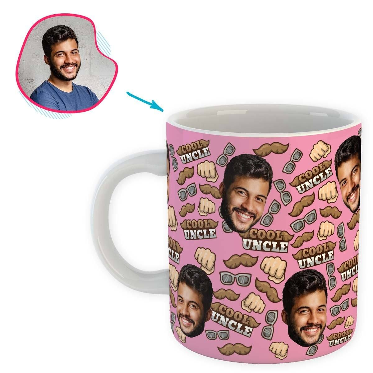 Pink Uncle personalized mug with photo of face printed on it