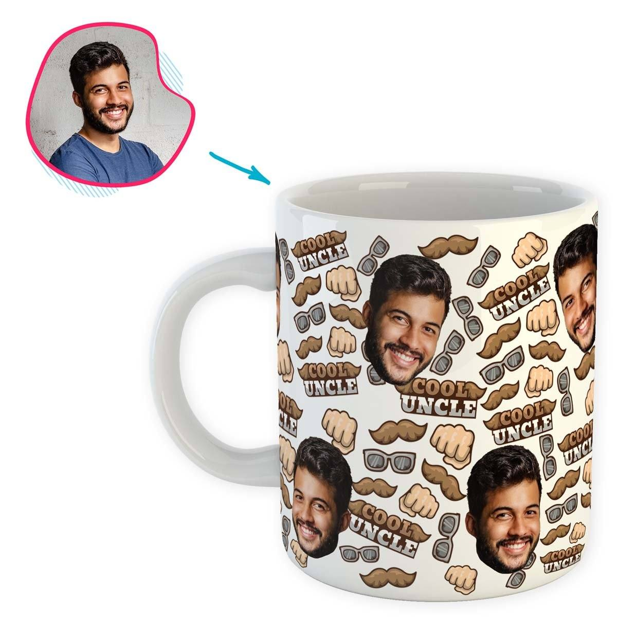 White Uncle personalized mug with photo of face printed on it
