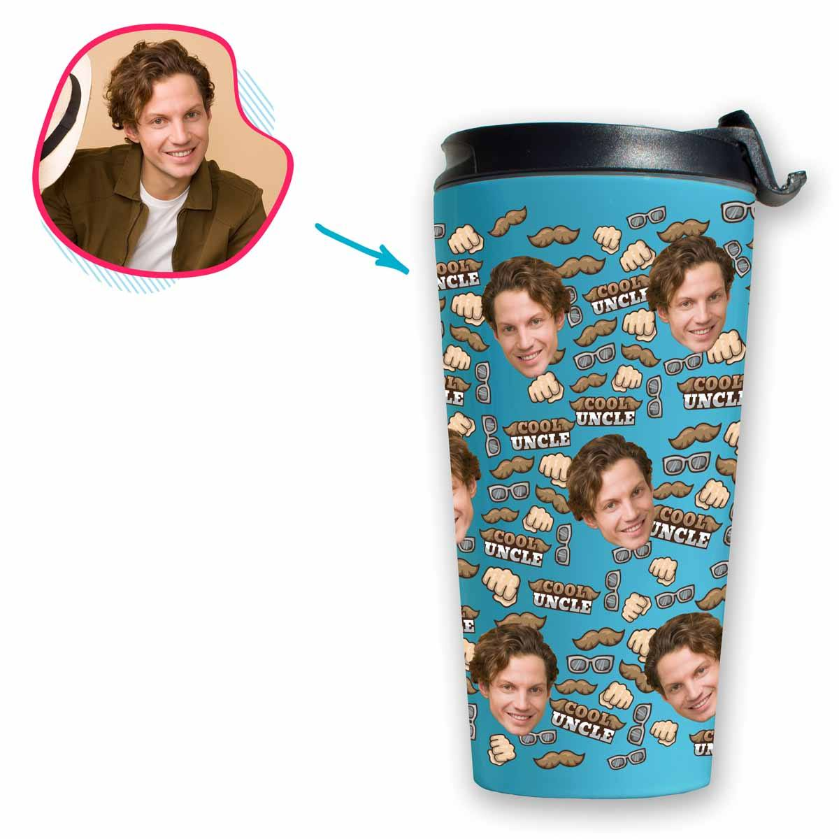 Blue Uncle personalized travel mug with photo of face printed on it