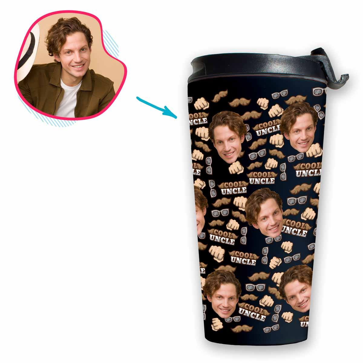 Dark Uncle personalized travel mug with photo of face printed on it