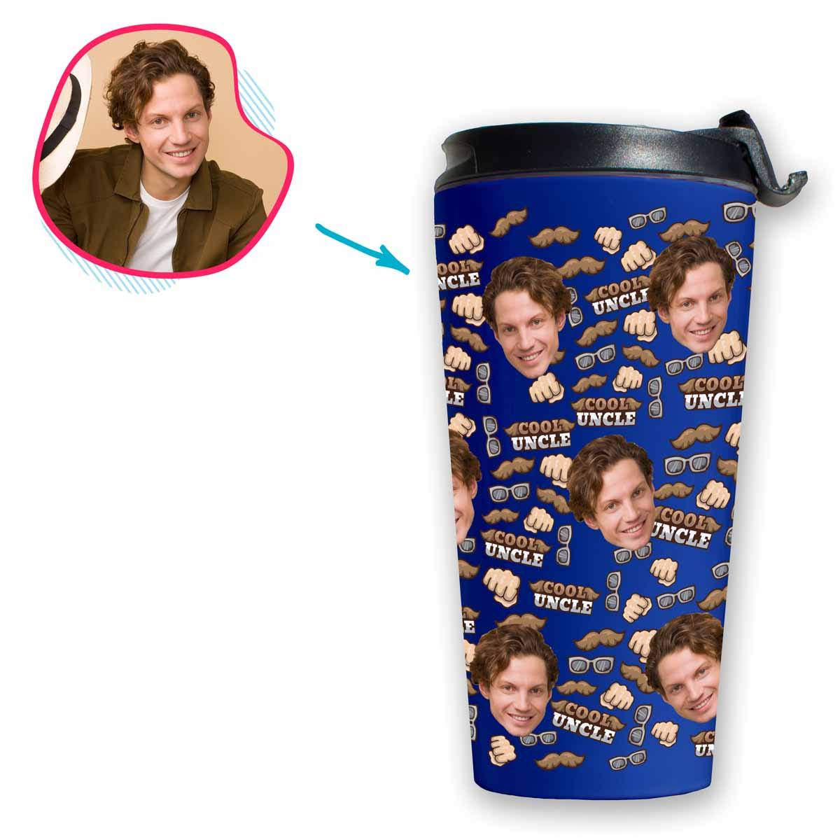 Darkblue Uncle personalized travel mug with photo of face printed on it
