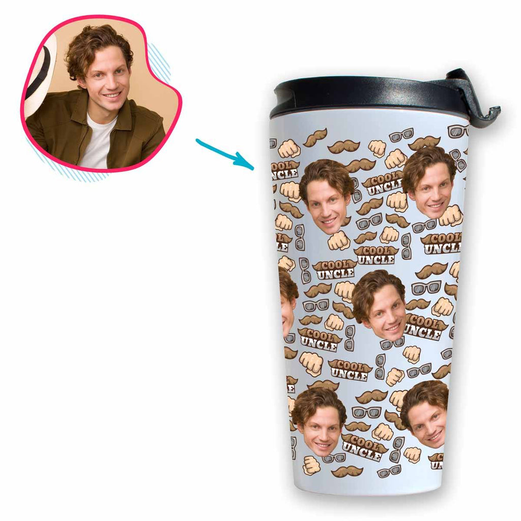 White Uncle personalized travel mug with photo of face printed on it