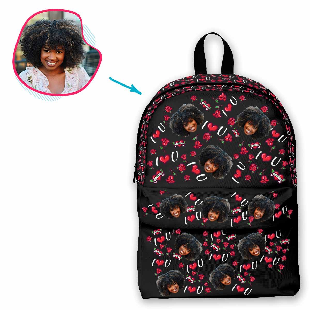 dark Valentines classic backpack personalized with photo of face printed on it