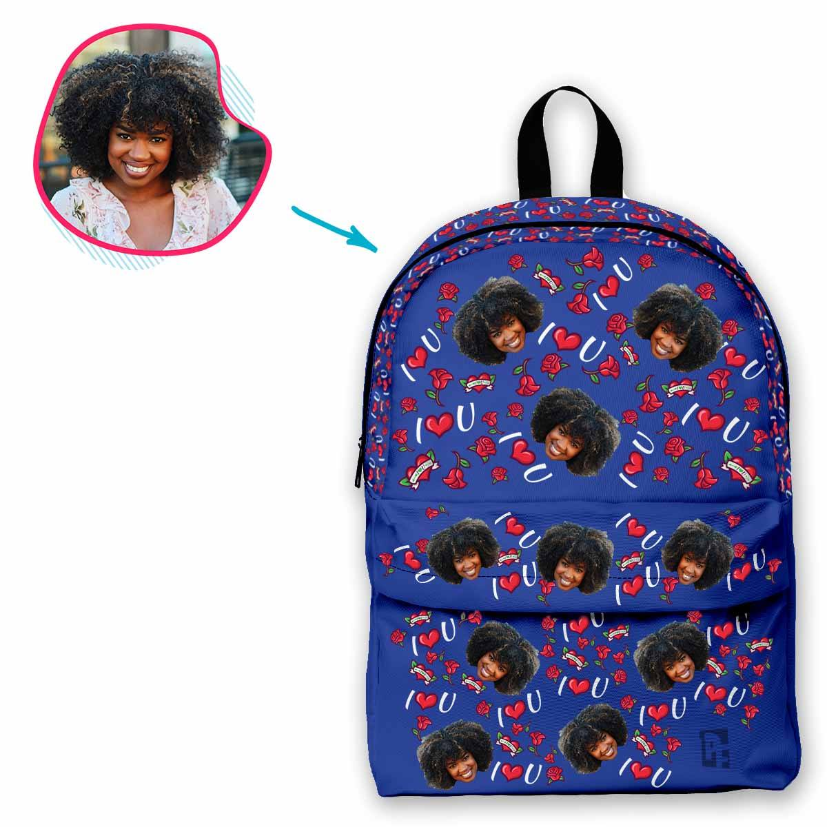 darkblue Valentines classic backpack personalized with photo of face printed on it