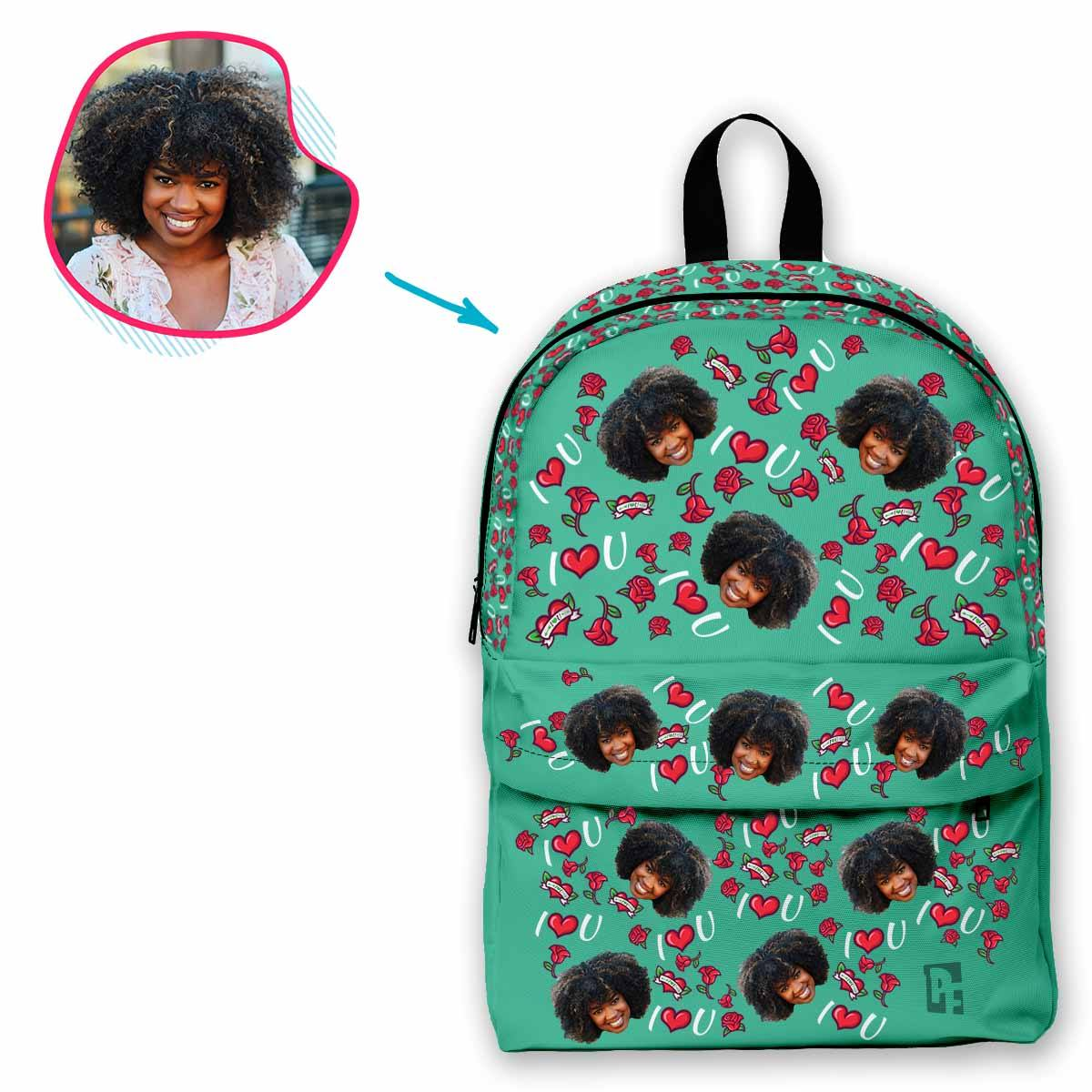 mint Valentines classic backpack personalized with photo of face printed on it
