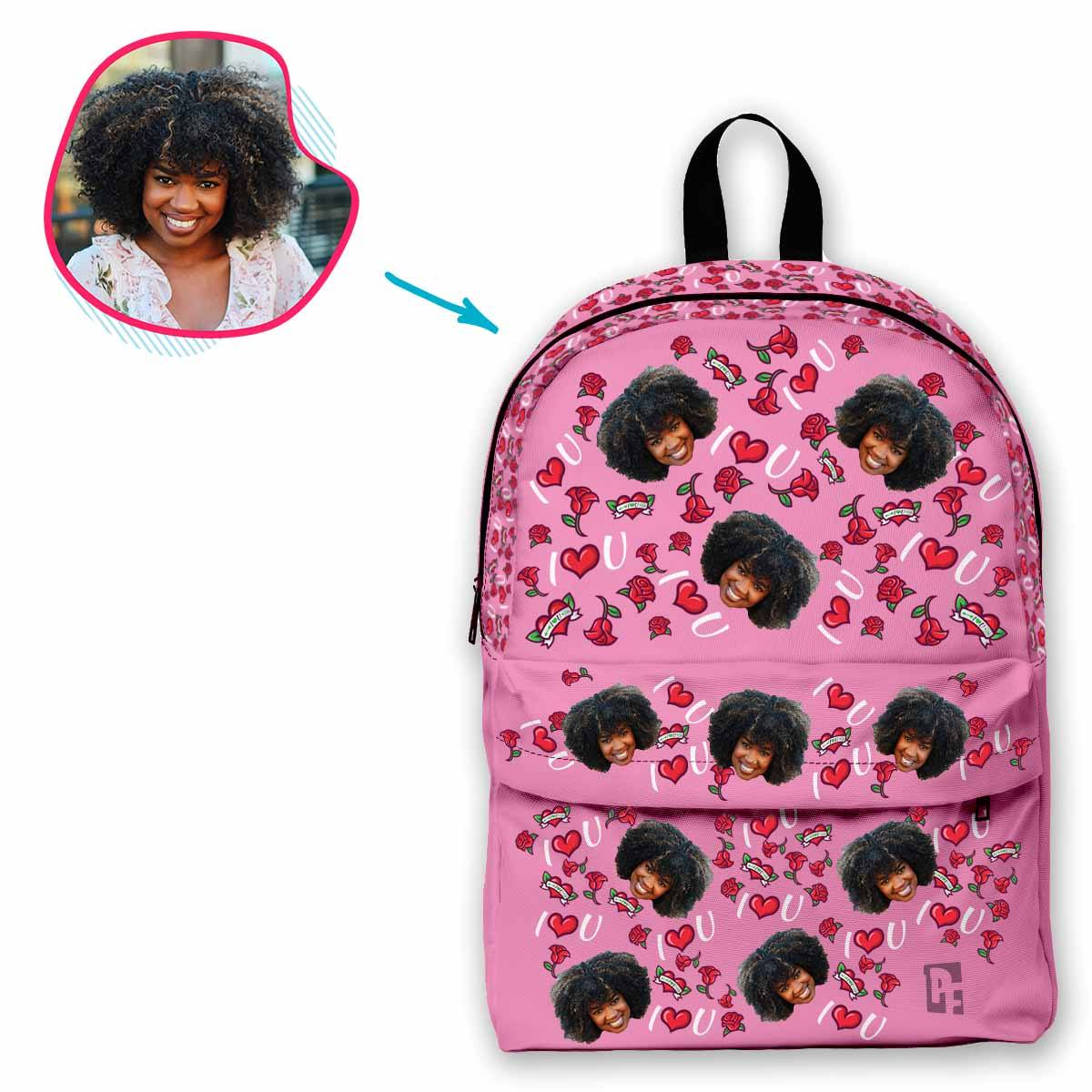 pink Valentines classic backpack personalized with photo of face printed on it