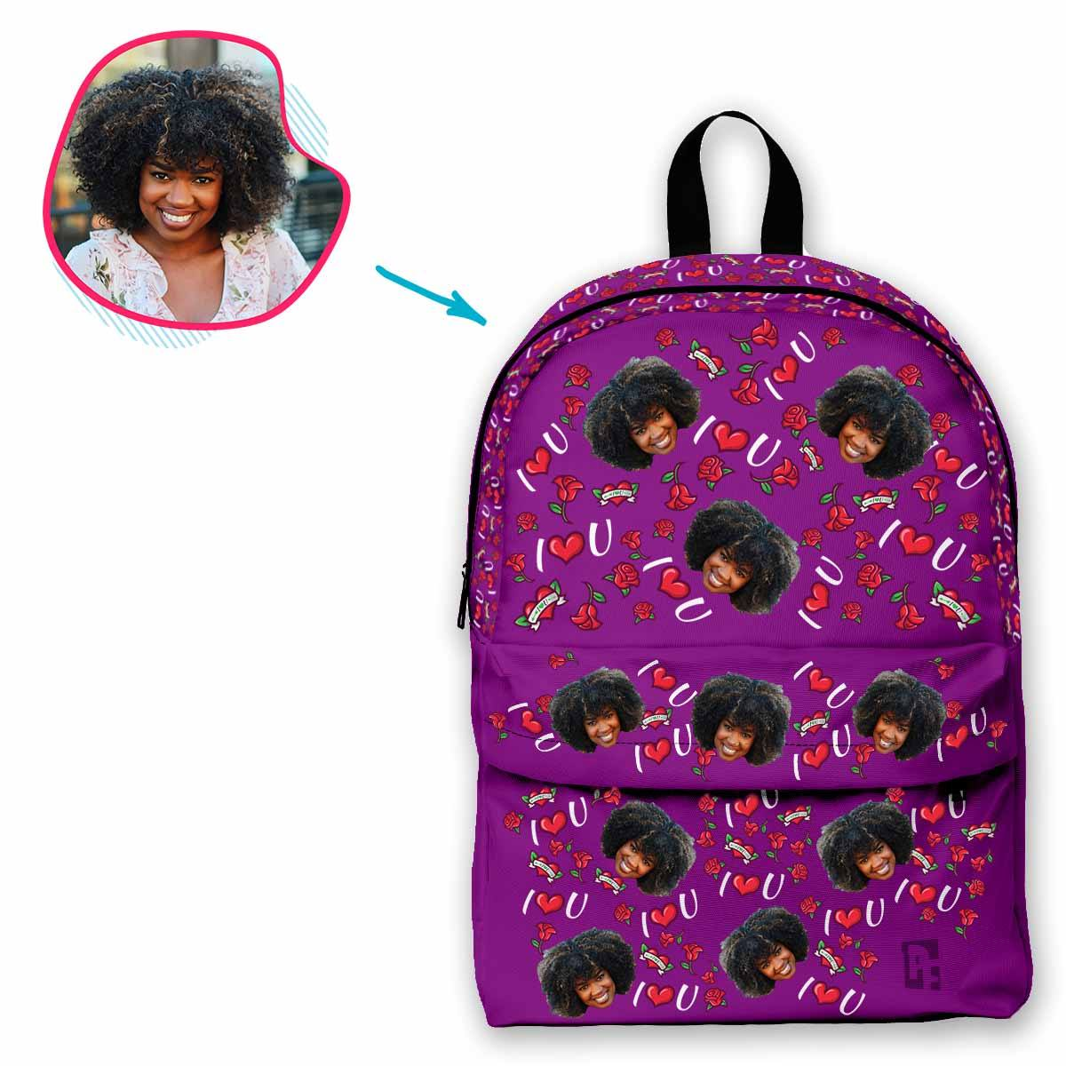 purple Valentines classic backpack personalized with photo of face printed on it
