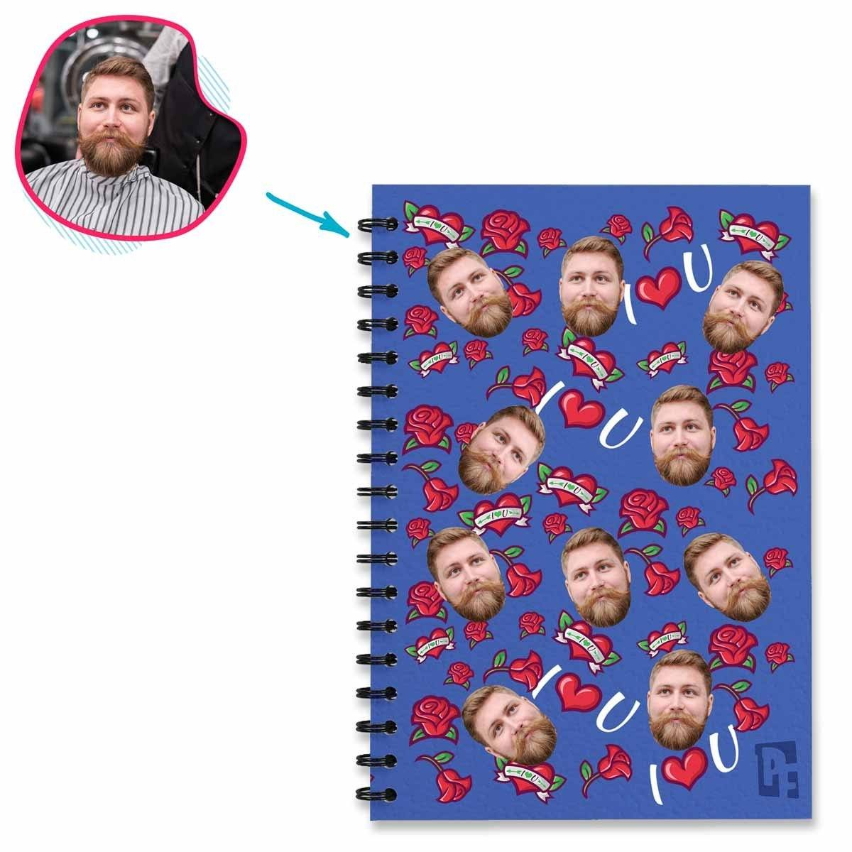 darkblue Valentines Notebook personalized with photo of face printed on them