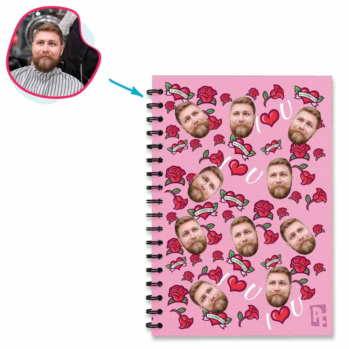pink Valentines Notebook personalized with photo of face printed on them