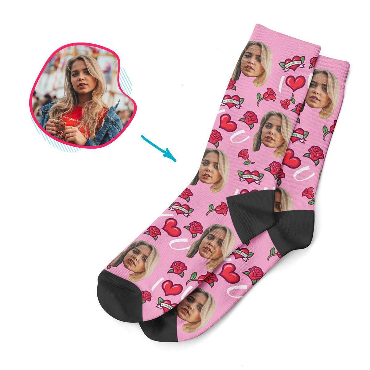 pink Valentines socks personalized with photo of face printed on them