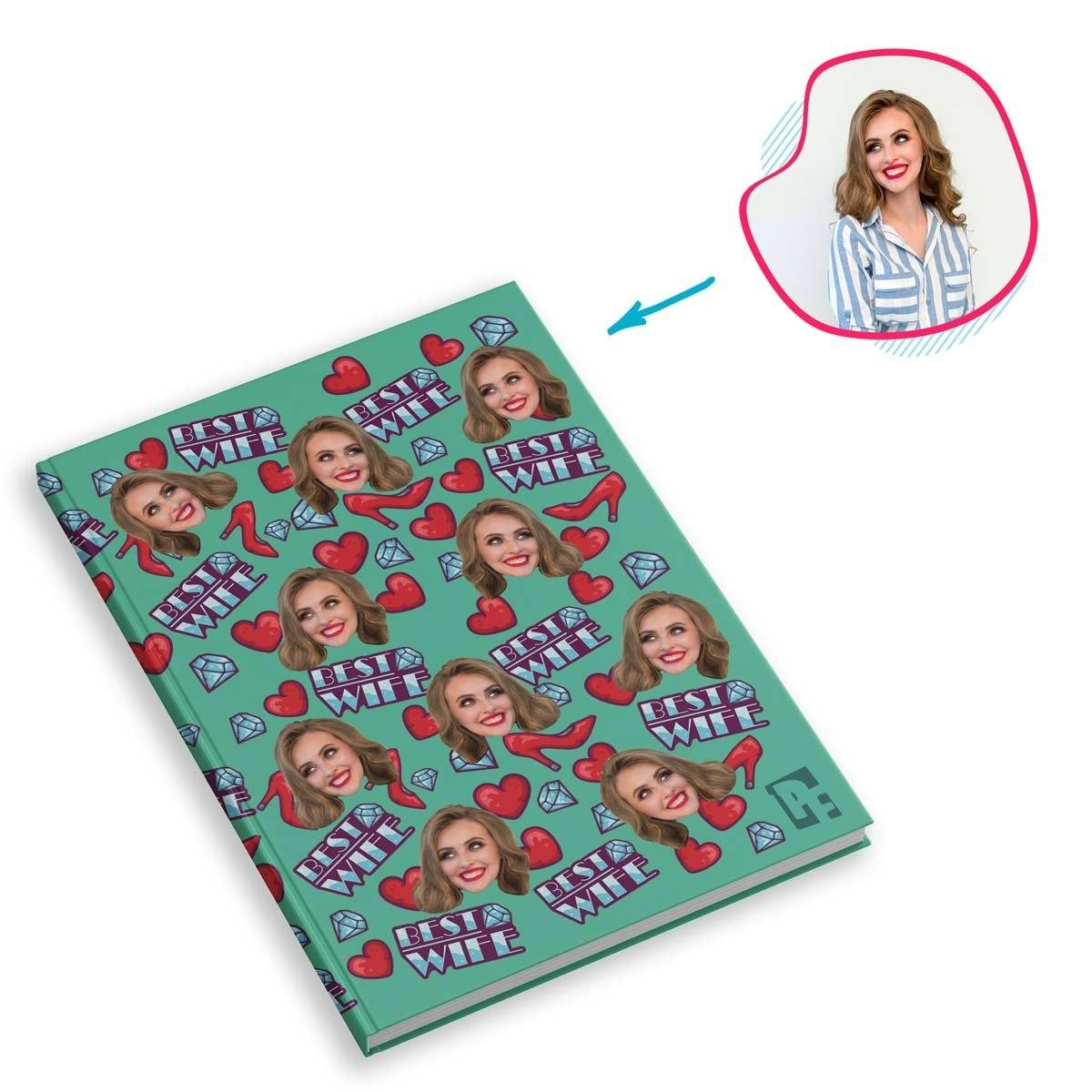 Mint Auntie personalized notebook with photo of face printed on them
