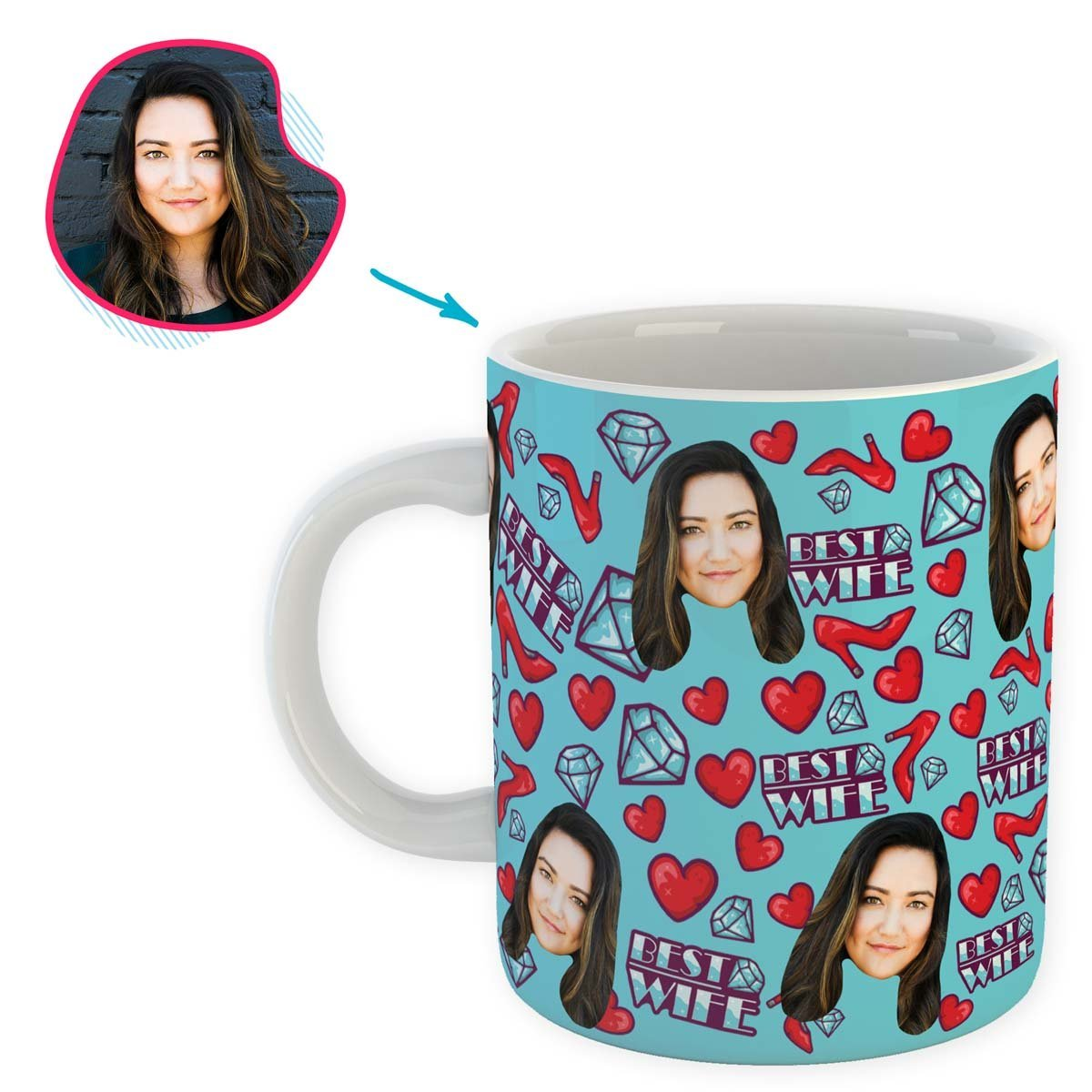 Blue Wife personalized mug with photo of face printed on it