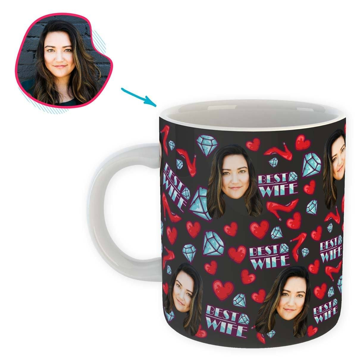 Dark Wife personalized mug with photo of face printed on it