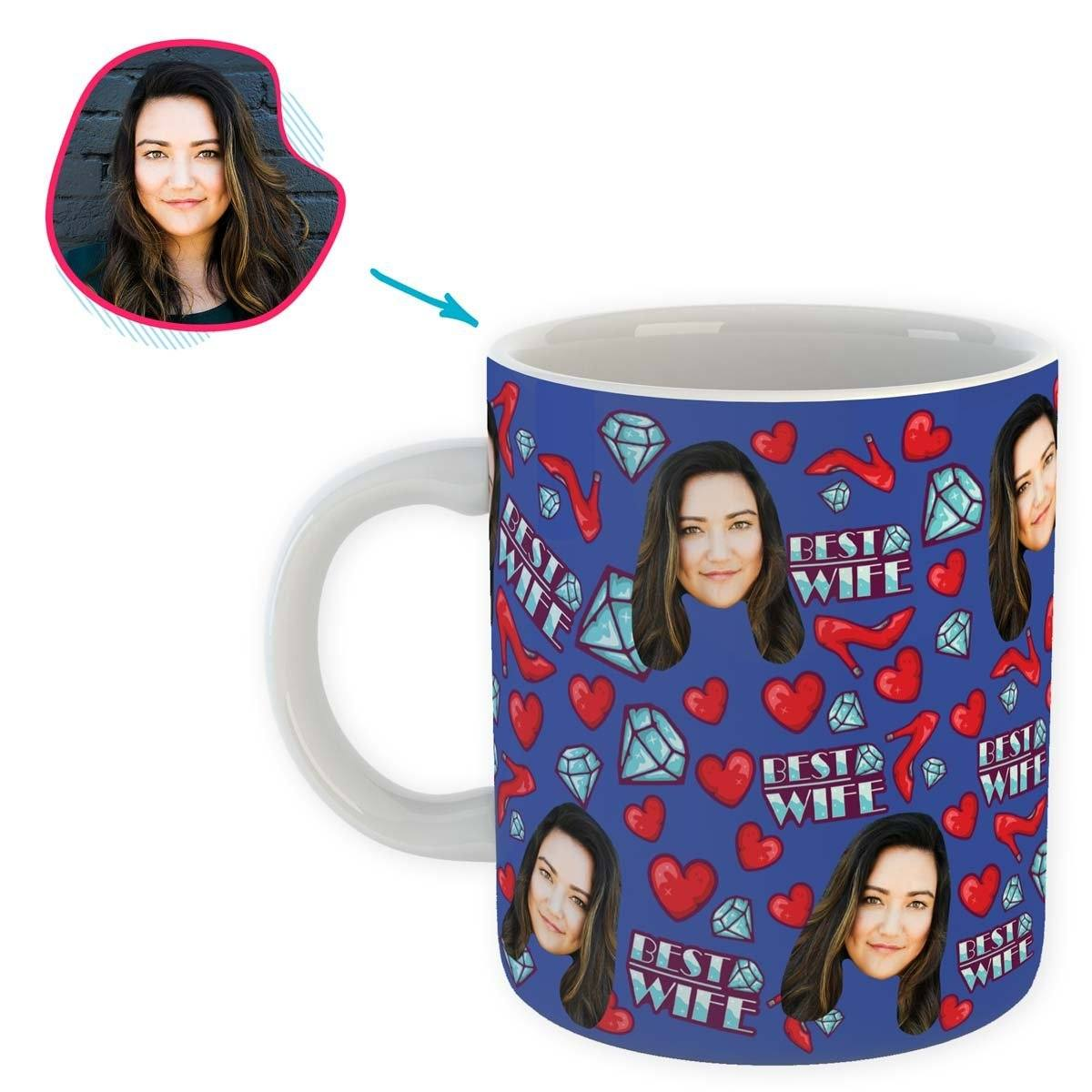 Darkblue Wife personalized mug with photo of face printed on it