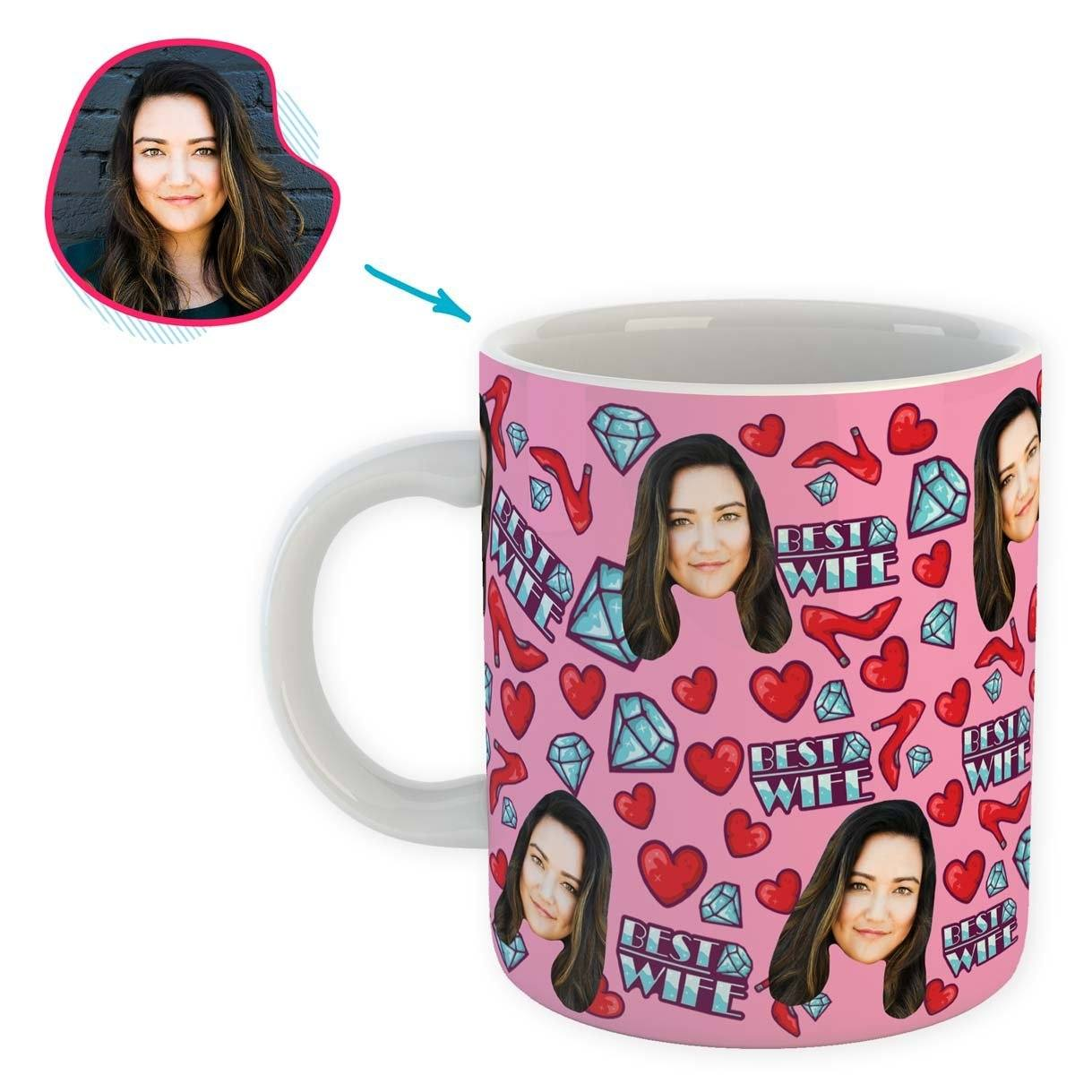 Pink Wife personalized mug with photo of face printed on it