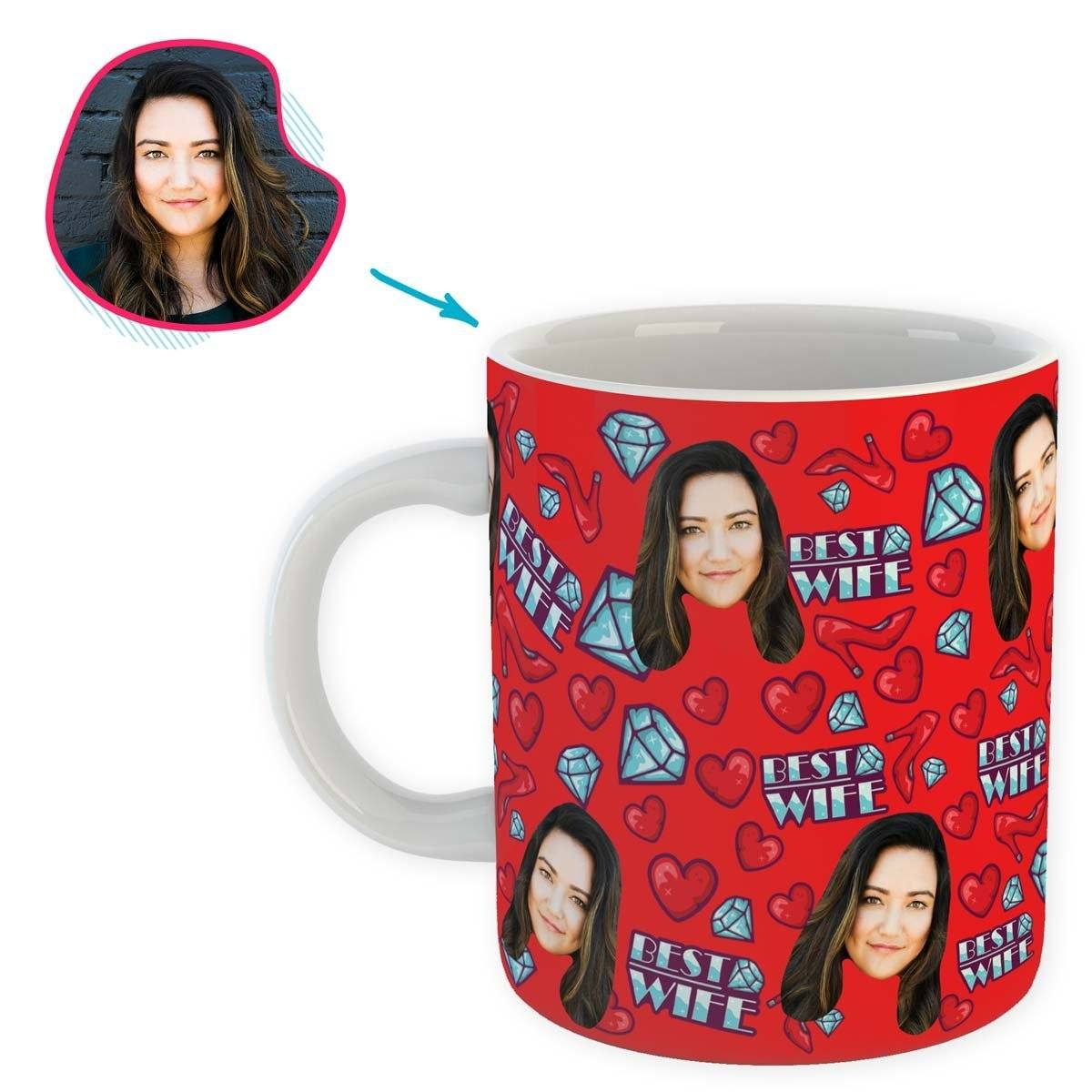 Red Wife personalized mug with photo of face printed on it