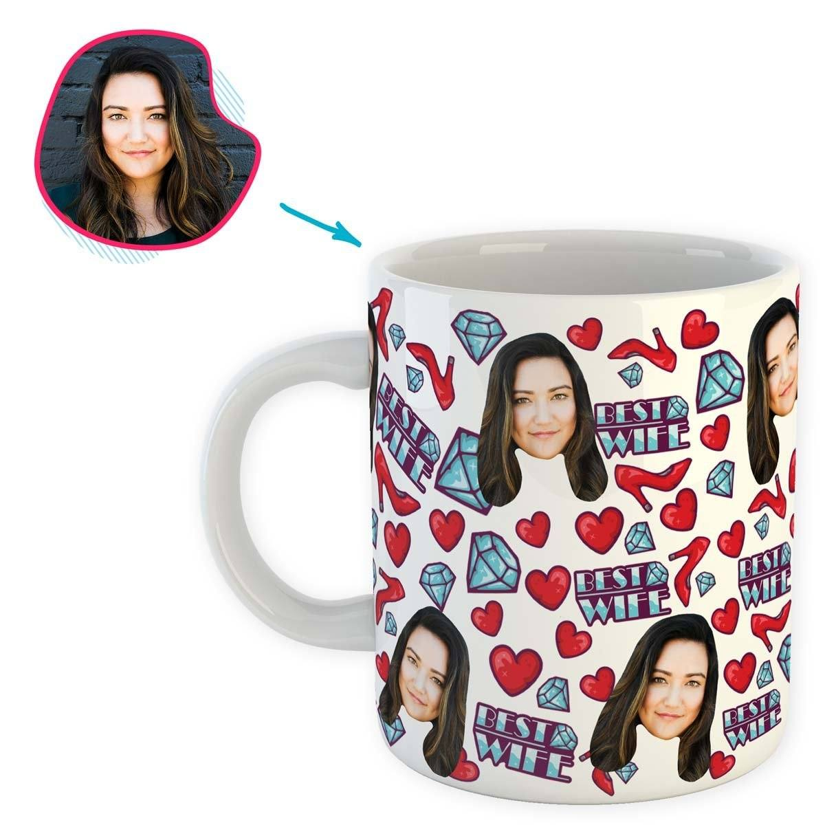 White Wife personalized mug with photo of face printed on it