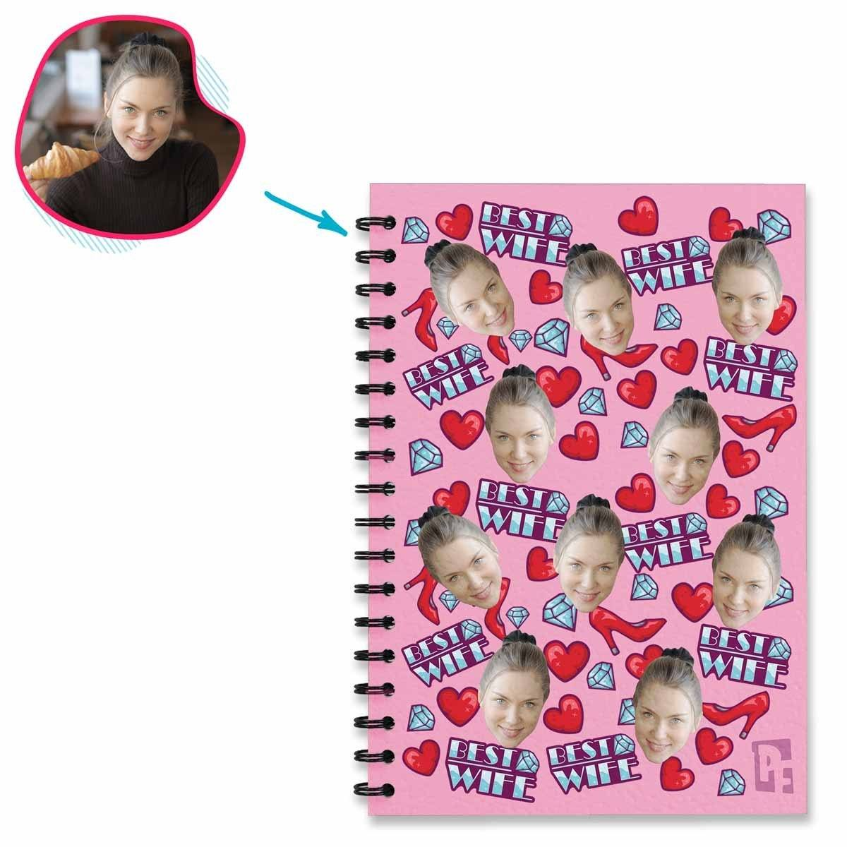 Pink Auntie personalized notebook with photo of face printed on them