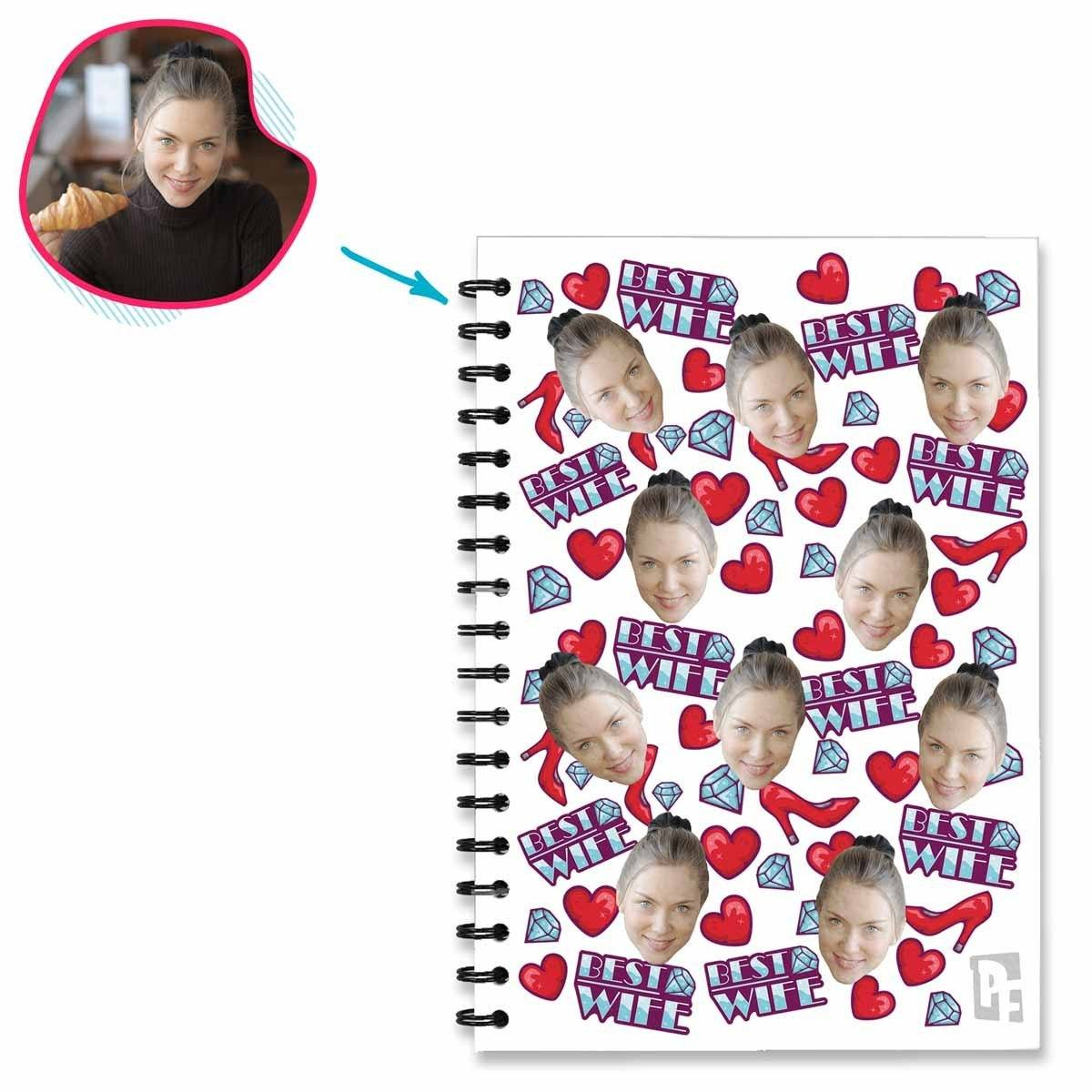 White Auntie personalized notebook with photo of face printed on them