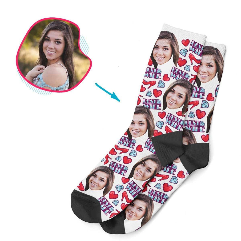 White Wife personalized socks with photo of face printed on them