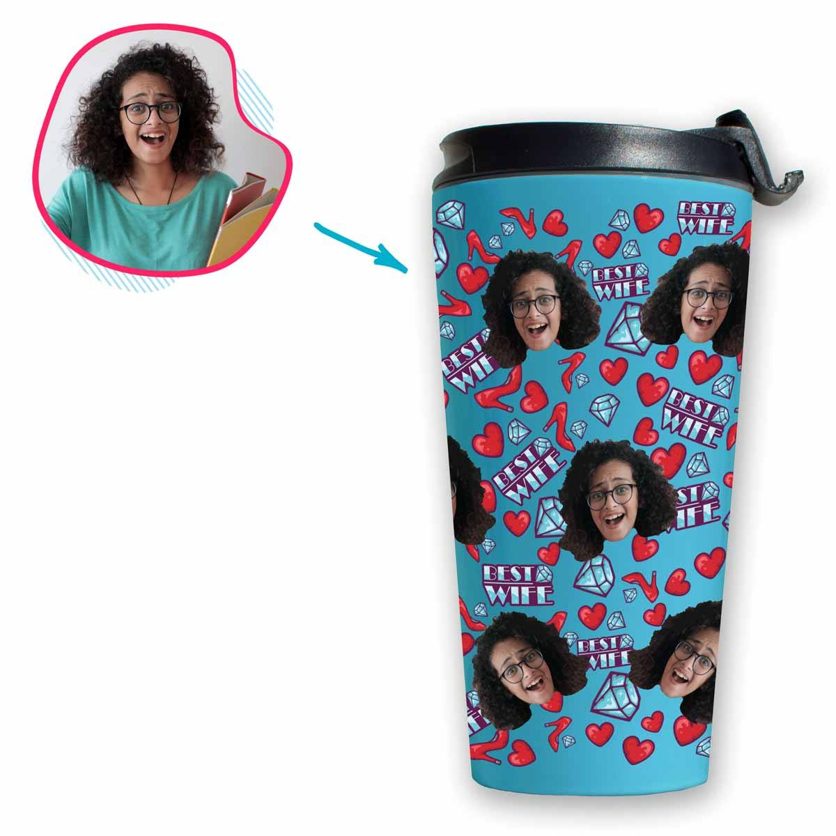 Blue Wife personalized travel mug with photo of face printed on it