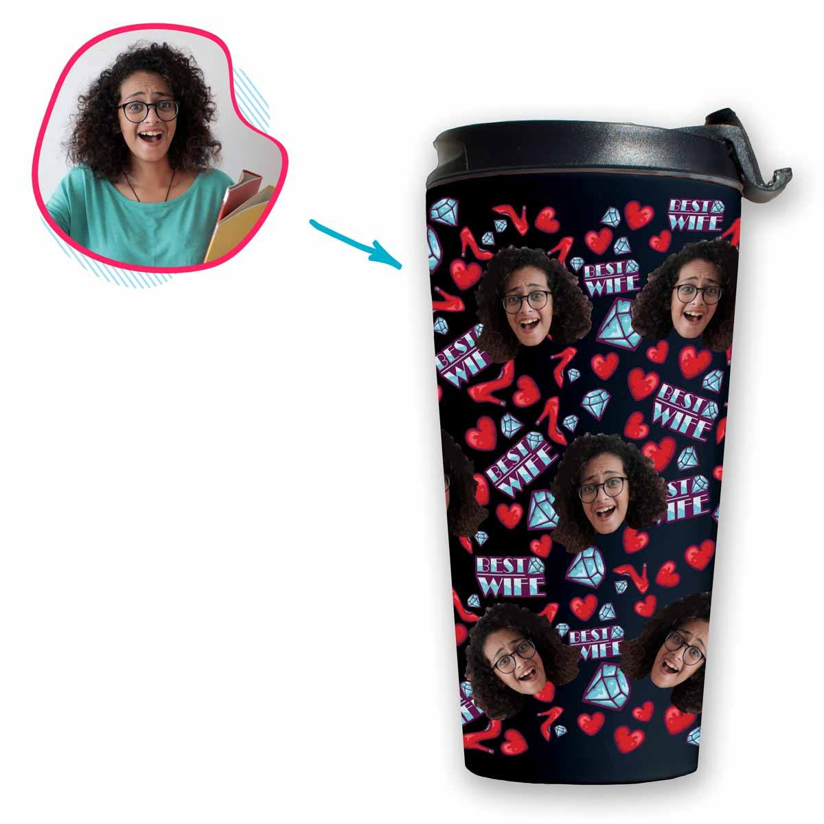 Dark Wife personalized travel mug with photo of face printed on it