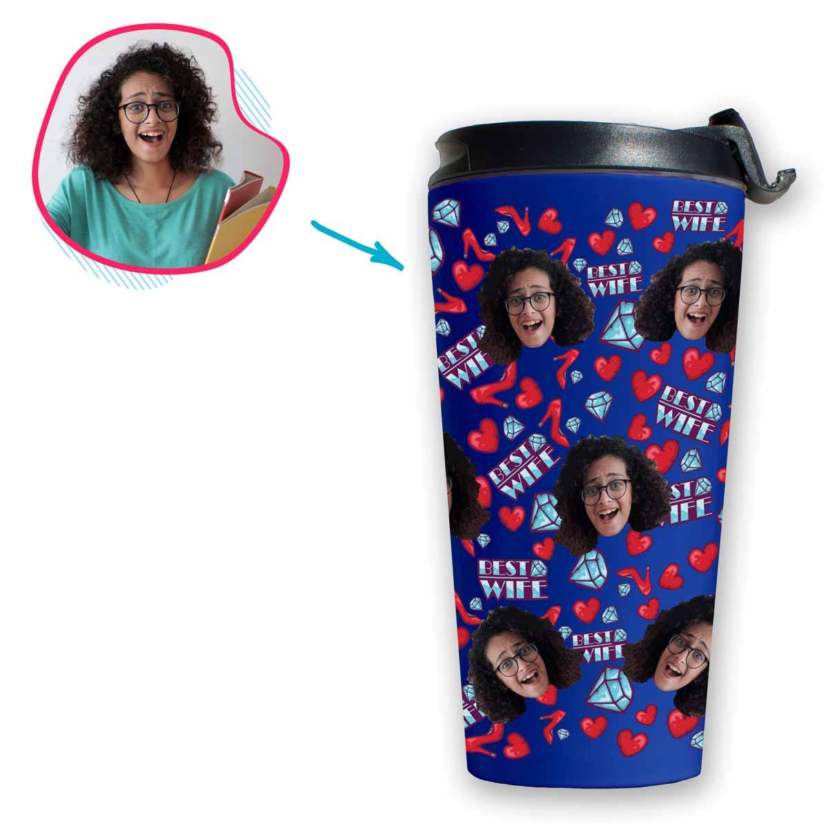 Darkblue Wife personalized travel mug with photo of face printed on it