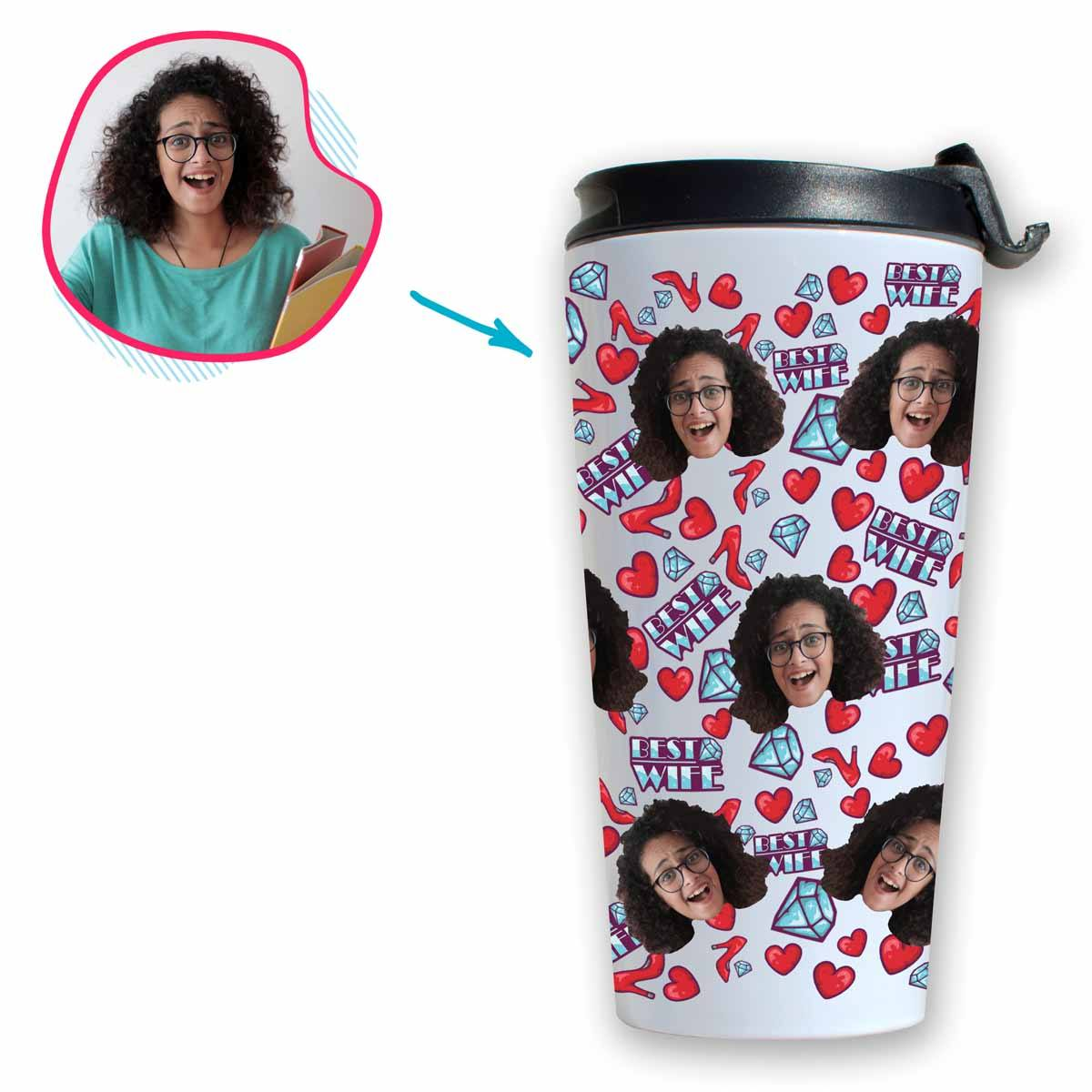 White Wife personalized travel mug with photo of face printed on it