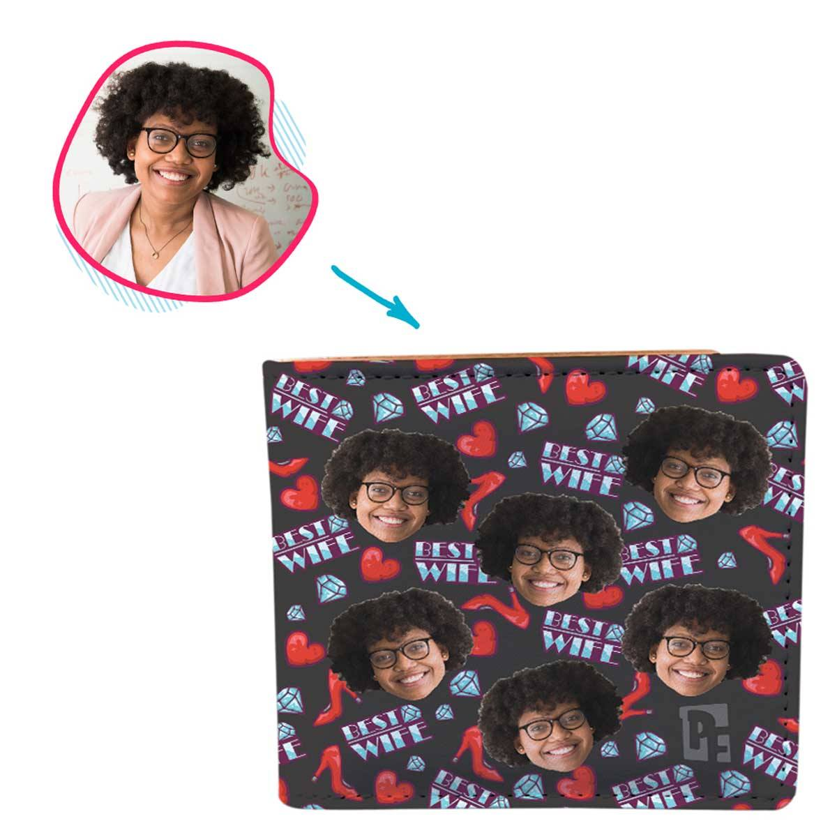 Dark Wife personalized wallet with photo of face printed on it