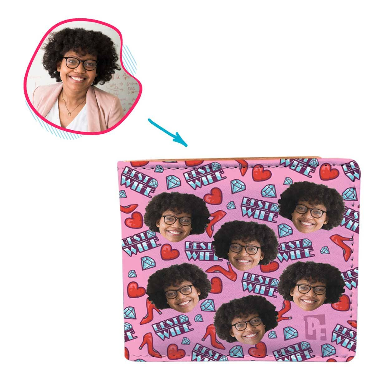 Pink Wife personalized wallet with photo of face printed on it