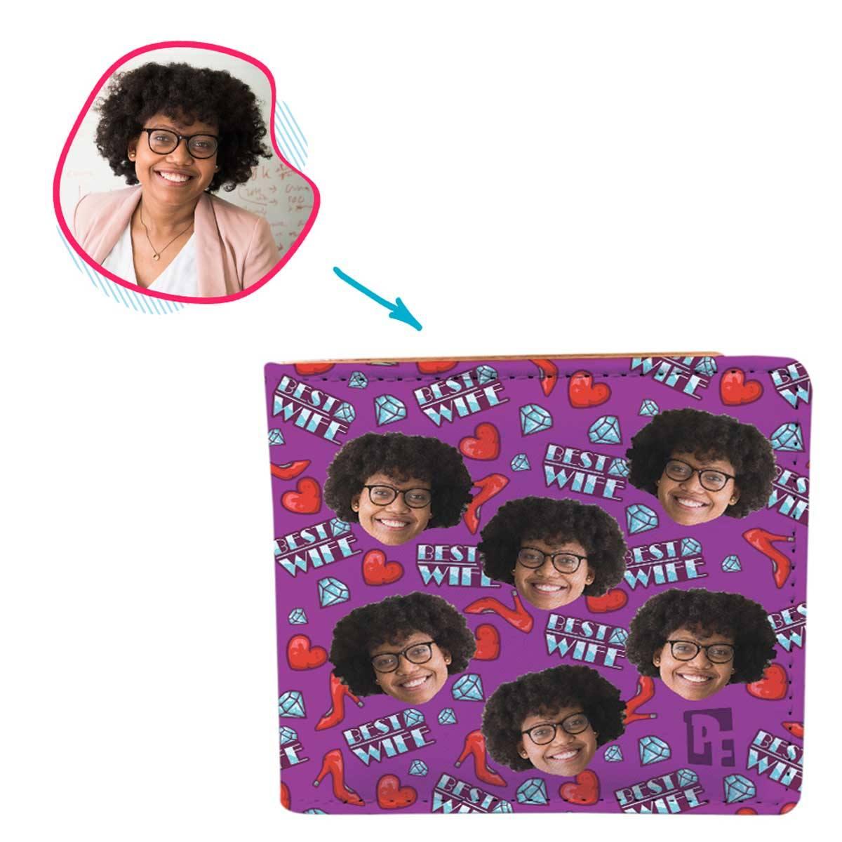 Purple Wife personalized wallet with photo of face printed on it