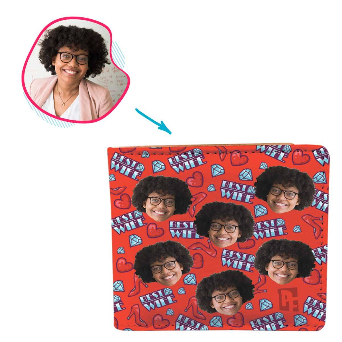Red Wife personalized wallet with photo of face printed on it