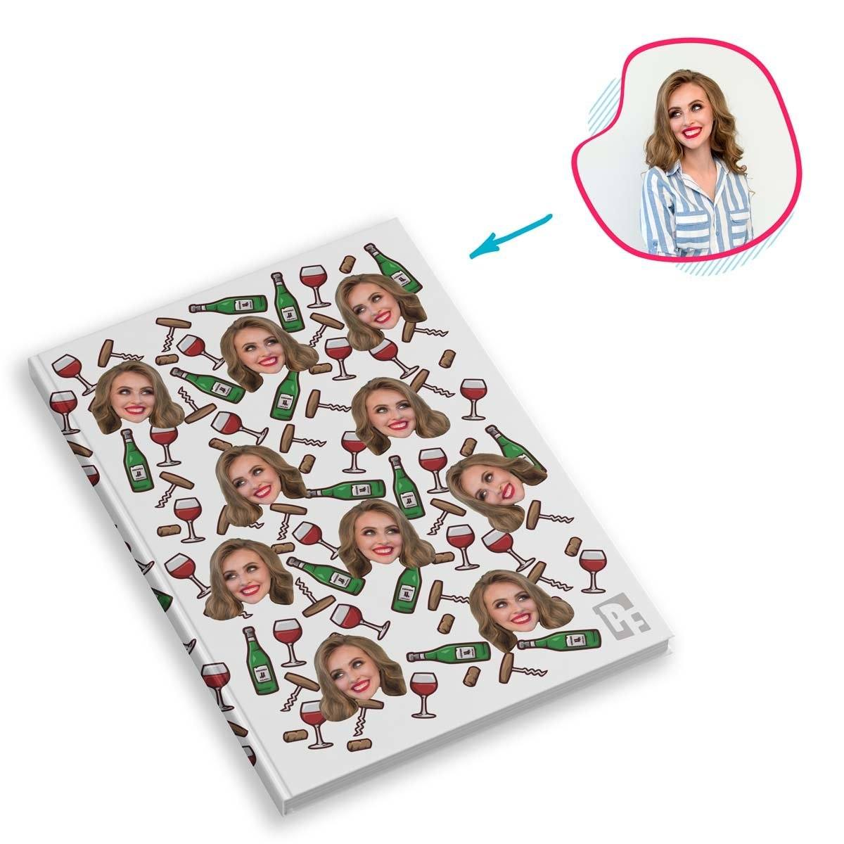 white Wine Notebook personalized with photo of face printed on them
