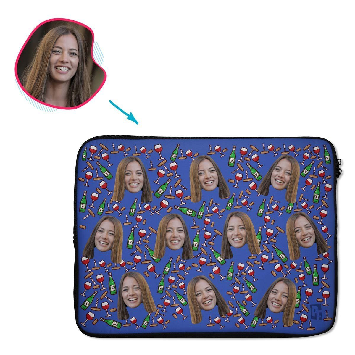 darkblue Wine laptop sleeve personalized with photo of face printed on them