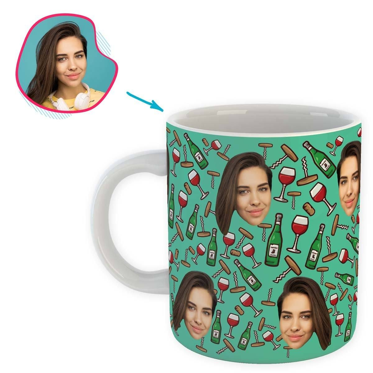 mint Wine mug personalized with photo of face printed on it