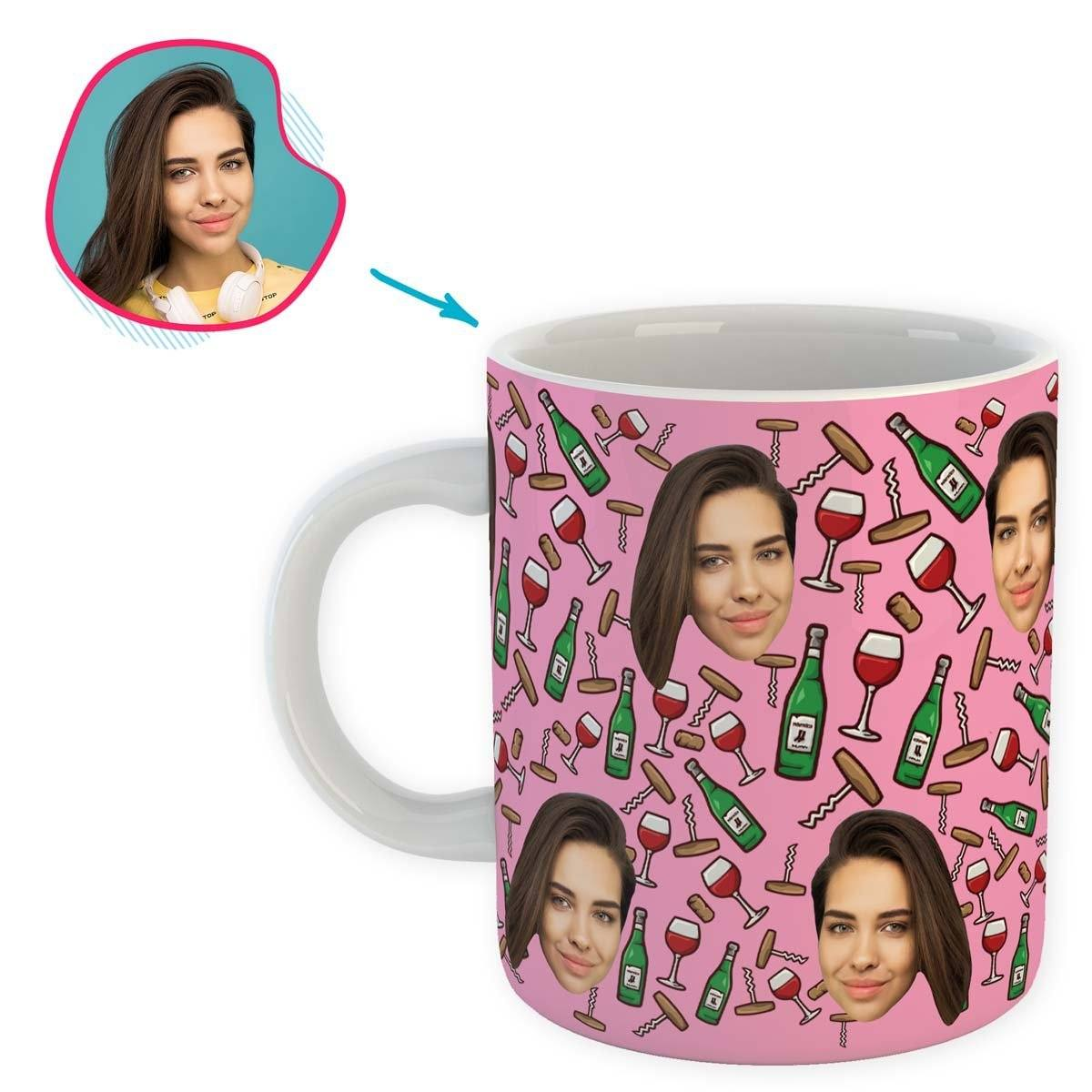 pink Wine mug personalized with photo of face printed on it